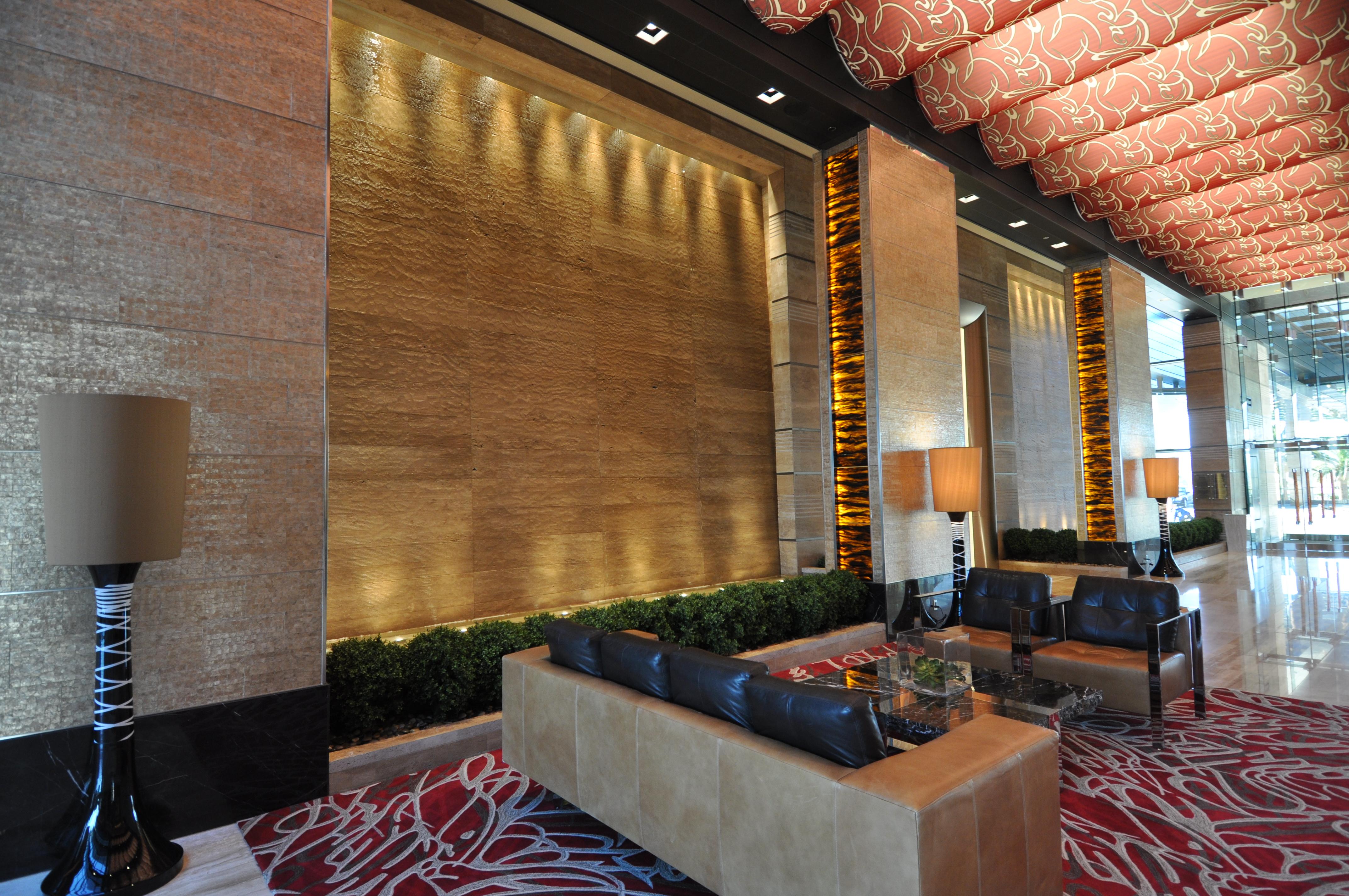 Lobby water wall at the M Resort Spa Casino, Las Vegas, NV.