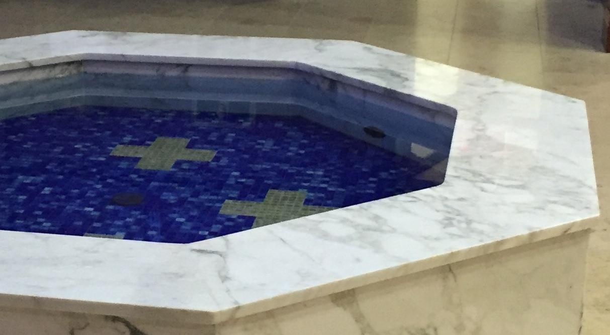 Detail of Hexagonal Baptismal Font with Spillway