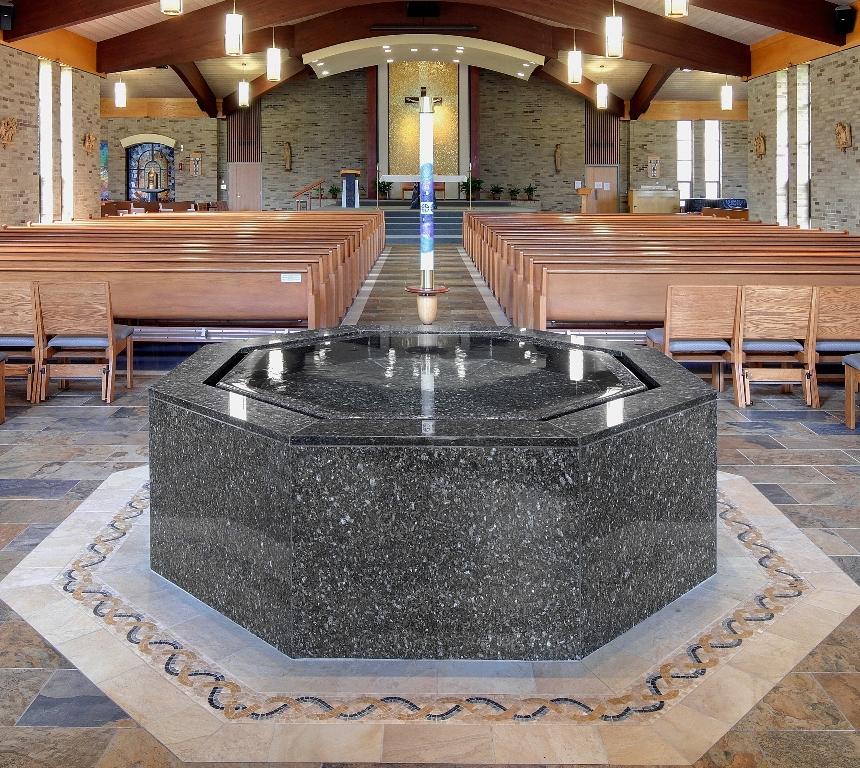 Hexagonal negative edge baptismal font, St. Joseph's, Penfield, NY.