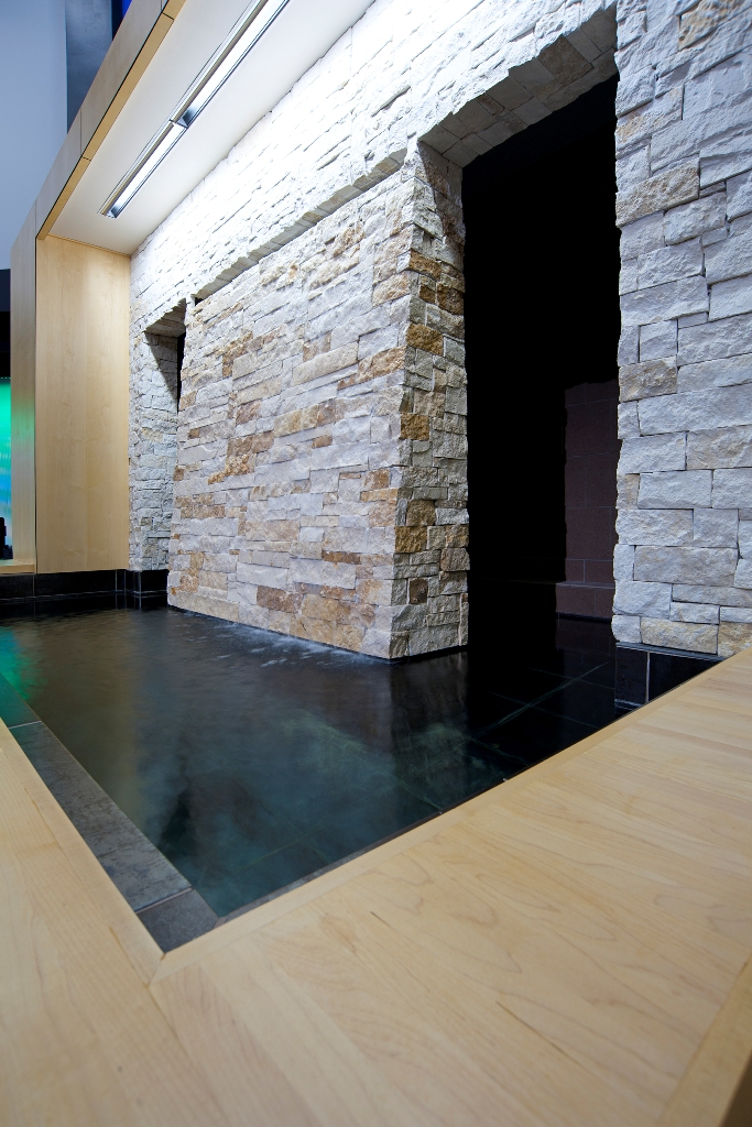 Natural stone water wall flowing into immersion pool, The Hills Church of Christ, North Richmond Hills, TX