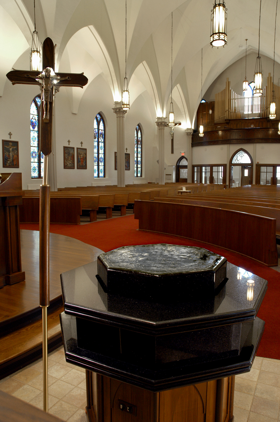 Negative Edge Baptismal Bowl, St. Mary's, Elmira, NY. Design by Annie Warner.