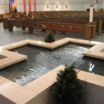 Cruciform Baptismal Font with Living Water Effect, St. Pius X Church, Urbandale, IA.