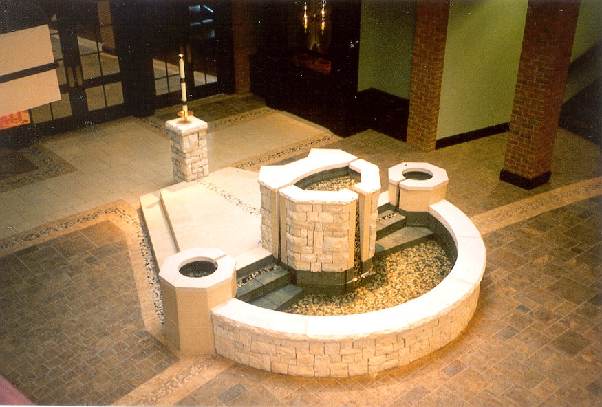 Semicircular Baptismal Font with Descending and Ascending Steps and Upper Font Bowl with Spillway Featuring Two Additional Marking Fonts with Spillways, Church of the Resurrection, New Albany, OH.