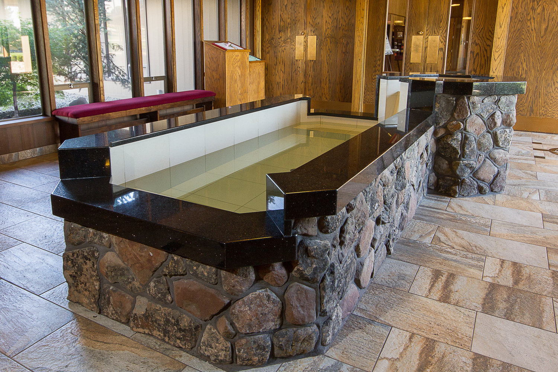 Elongated Semi-Immersion Baptismal Font with Offset Upper Bowl, Holy Family Parish, Yakima, WA.
