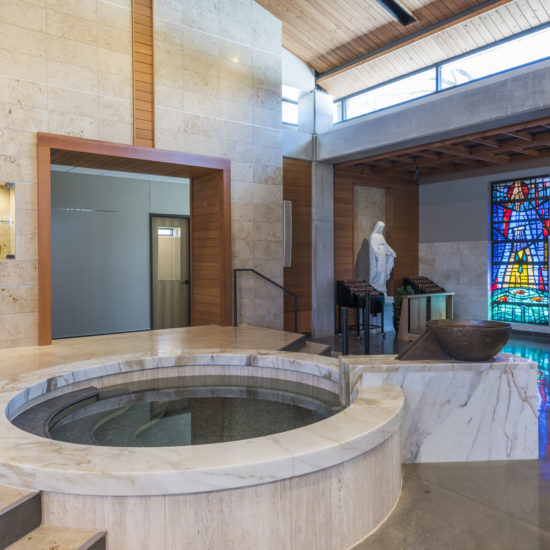 Circular Immersion Baptismal Font with Upper Bronze Bowl, Good Shepherd Church, Garland, TX.