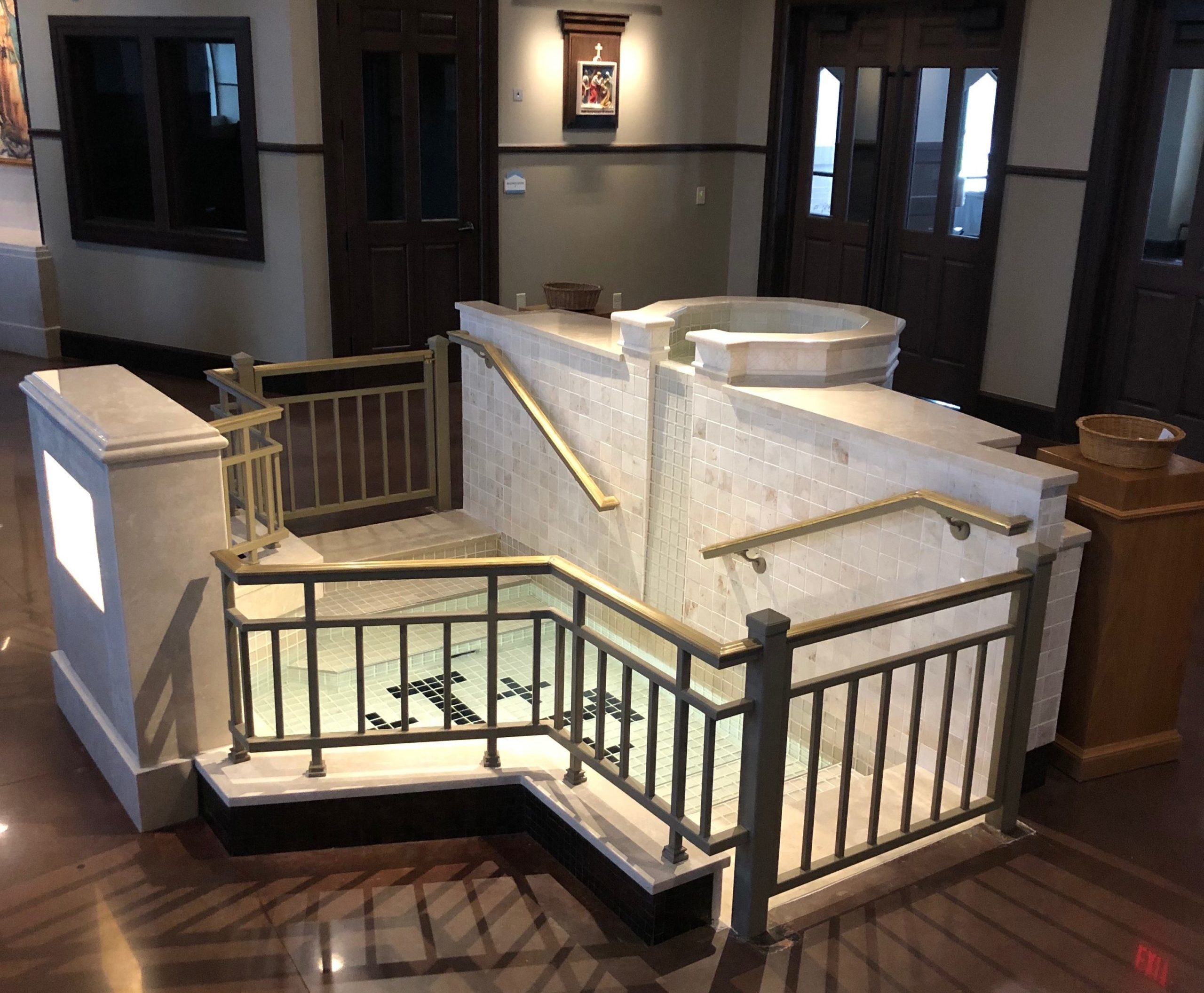 Immersion Baptismal Font with Built-in Descending and Ascending Steps and Upper Bowl with Spillway, Holy Spirit Church, Mustang, OK.