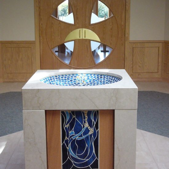 Baptismal Bowl with Exquisite Mosaic Art, Sisters of St. Francis of the Holy, Bay Settlement, WI.