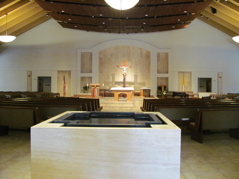 Negative Edge Cruciform Immersion Baptismal Font, St. Adelaide, Highland, CA.