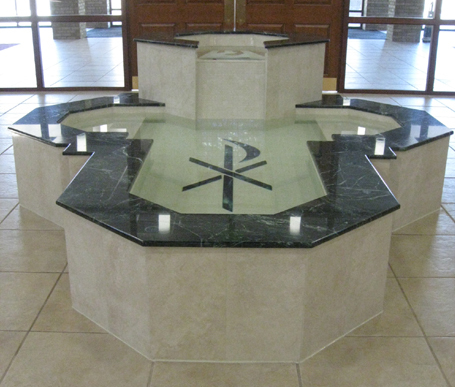 Cruciform Baptismal Font Featuring an Octagonal Upper Bowl with Inlaid Ceramic Dove, St. Anthony of Padua, Angola, IN.