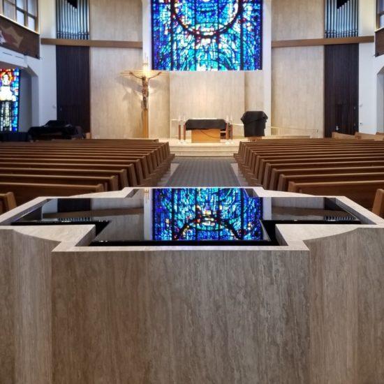 Negative Edge Cruciform Baptismal Font with Hidden Catchpool, St. Bonaventure, Huntington Beach, CA.