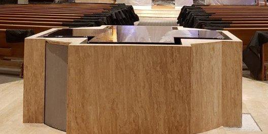 Negative Edge Cruciform Baptismal Font with Hidden Catchpool, Under Construction, St. Bonaventure, Huntington Beach, CA.