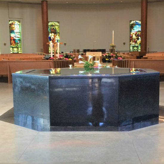 Large Single Level Octagonal Negative Edge Baptismal Font, St. Edward the Confessor, Clifton Park, NY.