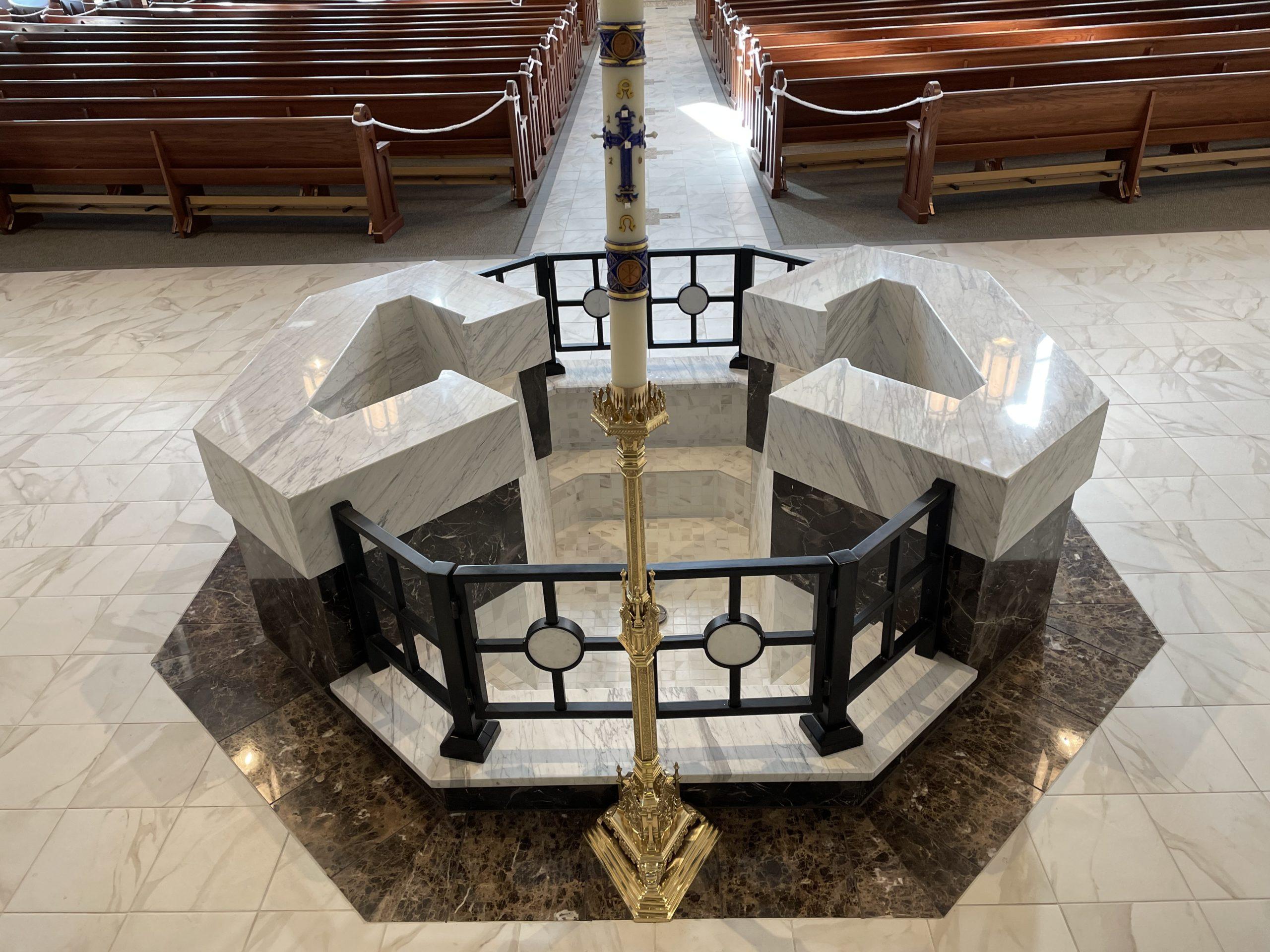 Recessed Semi-Immersion Baptismal Font, St. Elizabeth Ann Seton, Fort Collins, CO.