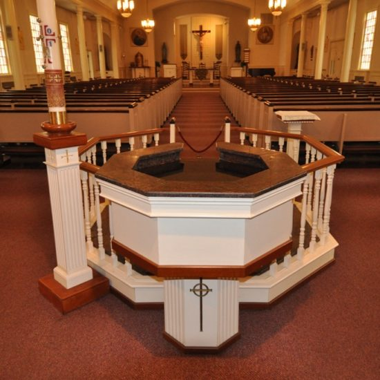 Octagonal Upper and Lower Baptismal Font Pools with Integrated Water Wall, St. Joachim's, Rockport, MA.