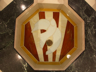 Inlaid Ceramic Dove Detail in Octagonal Upper Bowl of Cruciform Baptismal Font, St. Anthony of Padua, Angola, IN.