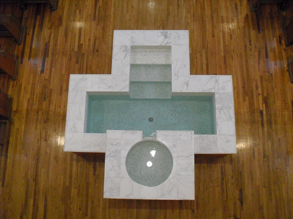 Cruciform Baptismal Font with Descending Steps, Circular Upper Bowl and Spillway, Sacred Heart, Alamosa, CO.