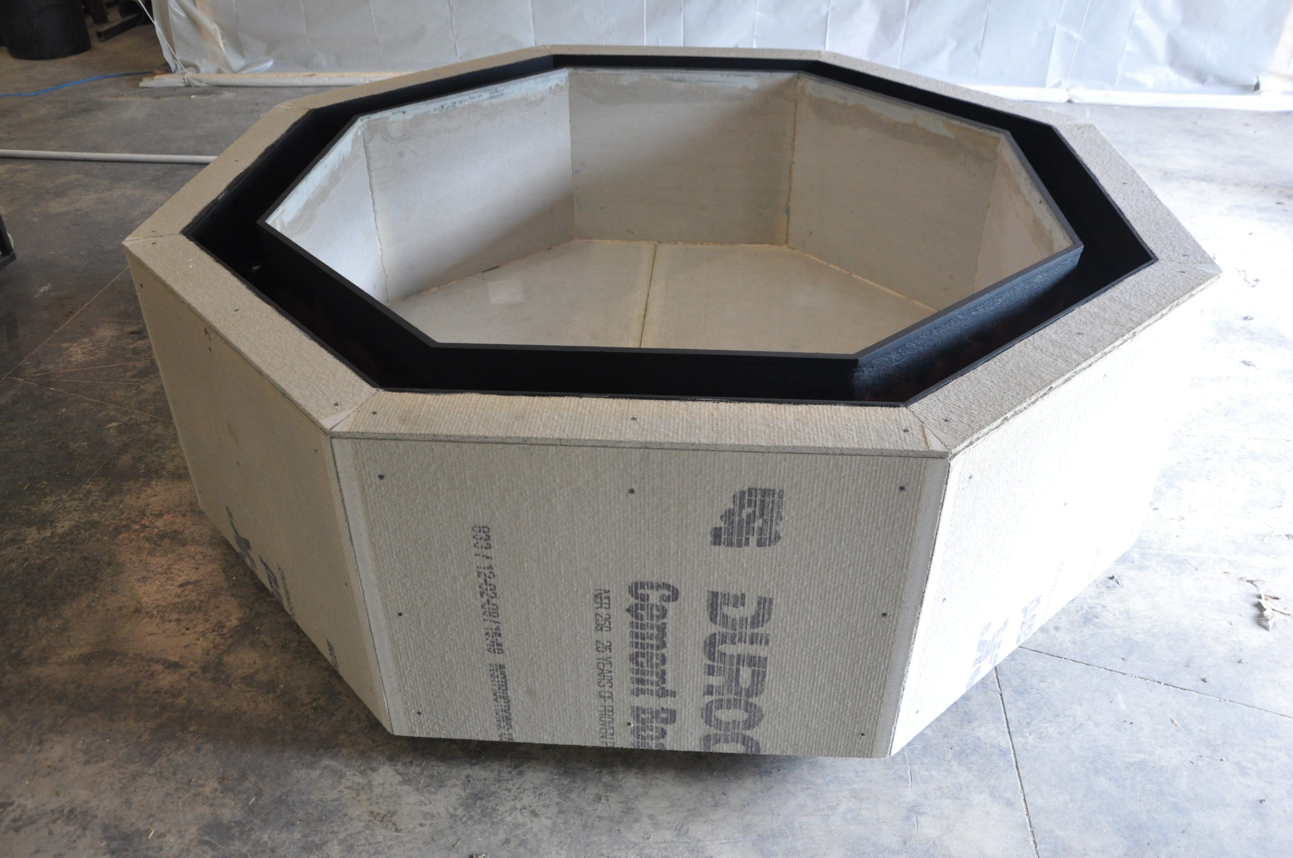Negative Edge Baptismal Font Under Construction at Water Structures Manufacturing Facility