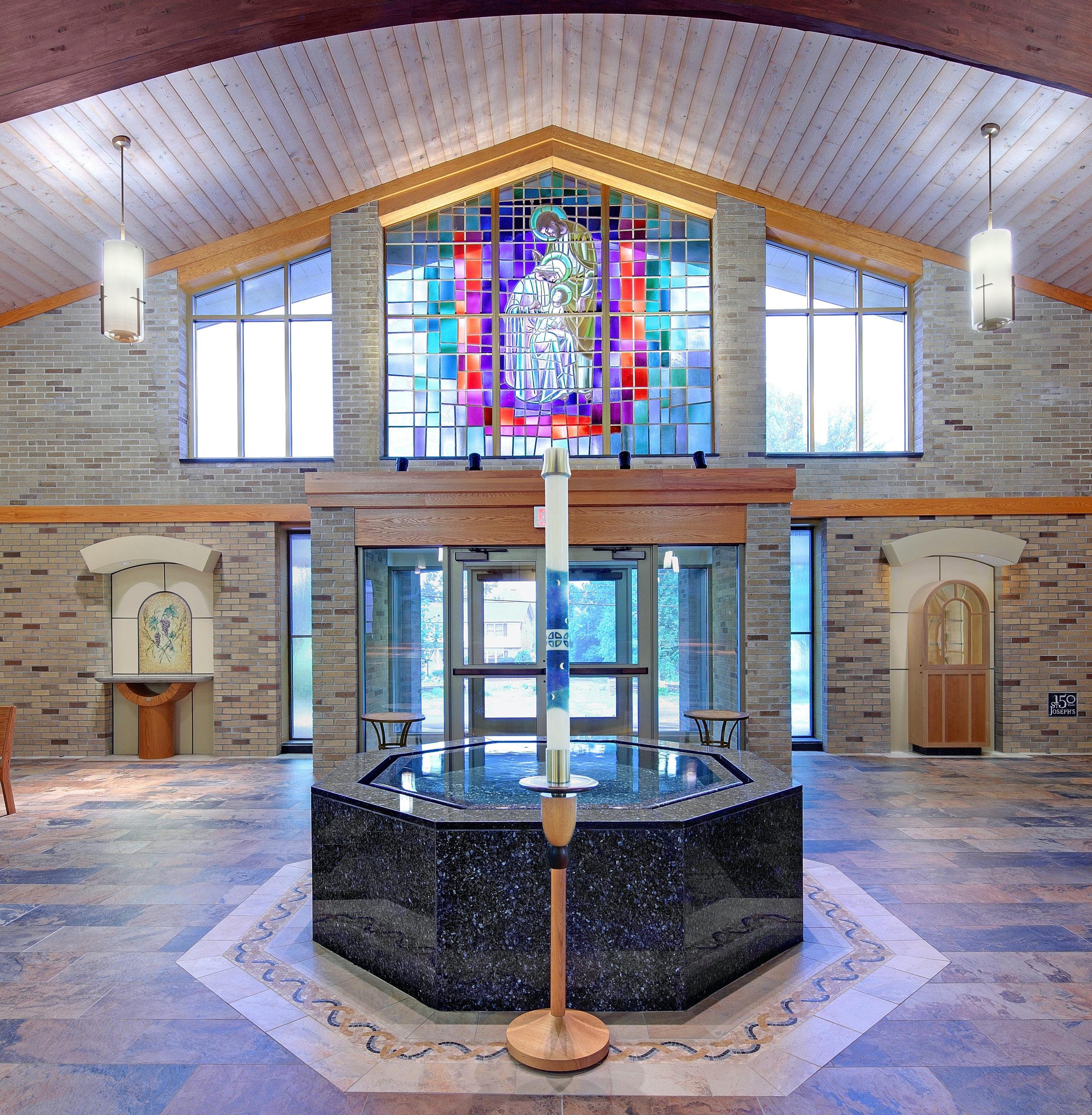 Single Level Octagonal Negative Edge Baptismal Font Pool, St. Joseph's Church, Penfield, NY.