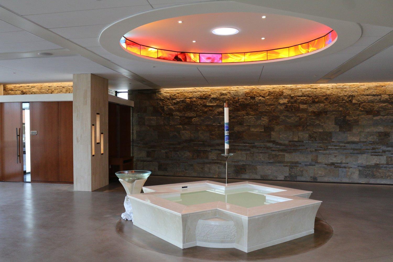 White Marble Cruciform Baptismal Baptismal Font, Franciscan Renewal Center, Scottsdale, AZ.